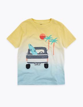 Erkek Çocuk Sarı Desenli Kısa Kollu T-Shirt