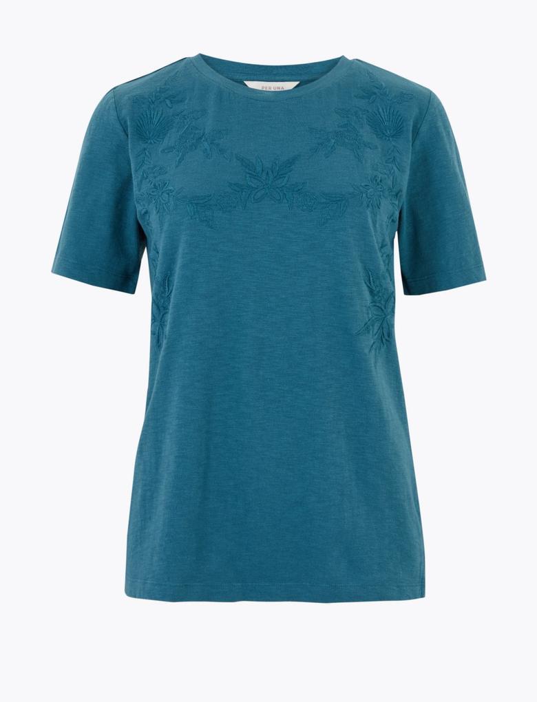 Yeşil Saf Pamuklu İşlemeli T-Shirt