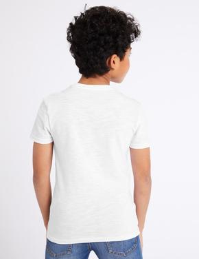 Erkek Çocuk Beyaz Kısa Kollu Cep Detaylı T-Shirt
