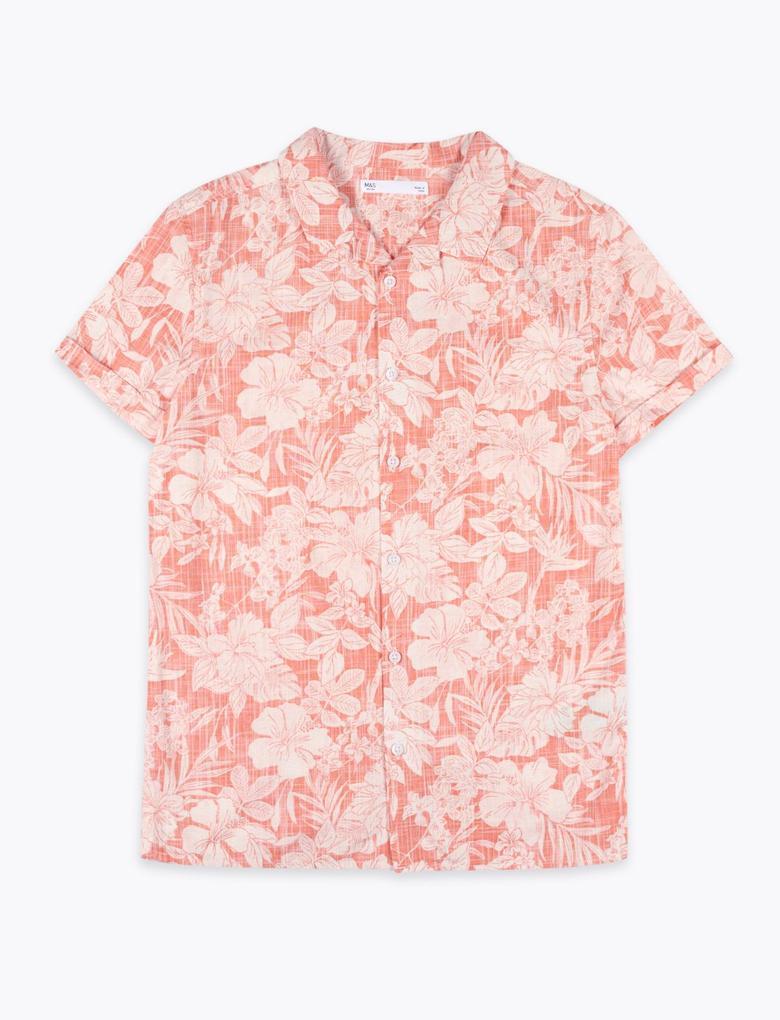 Erkek Çocuk Sarı Saf Pamuklu Tropikal Desenli Gömlek