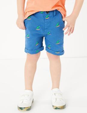 Erkek Çocuk Mavi Dinozor İşlemeli Chino Şort