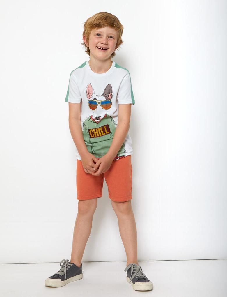 Erkek Çocuk Turuncu Pamuklu Jarse Şort