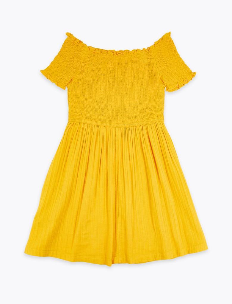 Kız Çocuk Bej Saf Pamuklu Omzu Açık Elbise