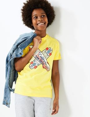 Erkek Çocuk Sarı Saf Pamuklu Desenli T-Shirt
