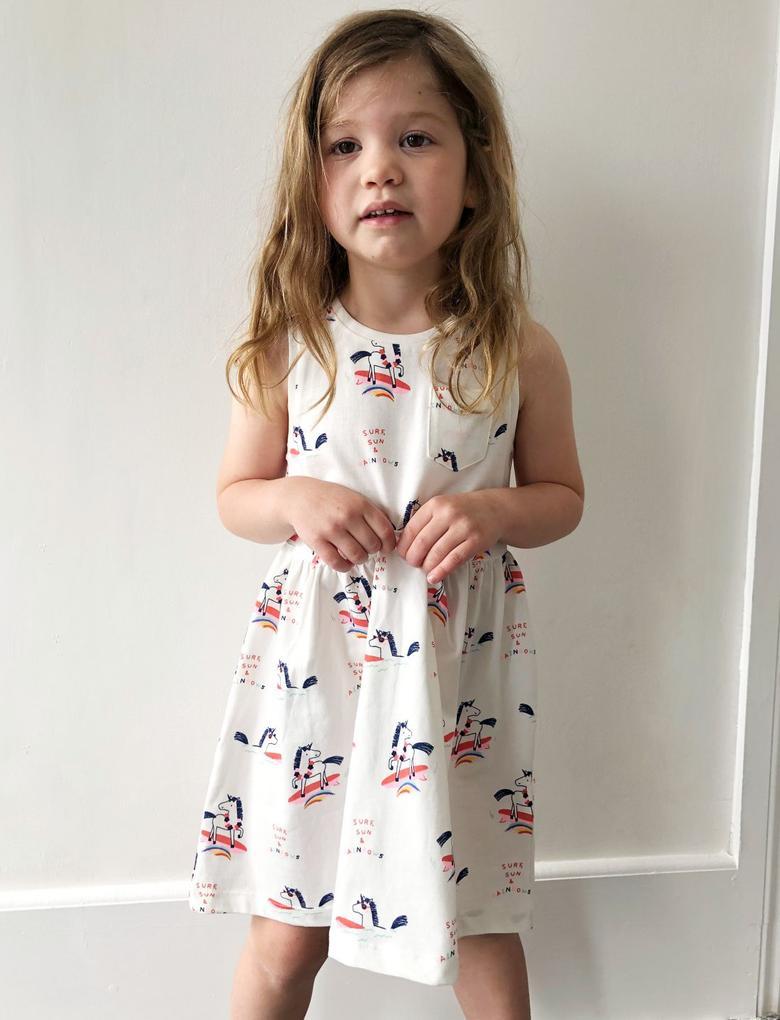 Kız Çocuk Beyaz Unicorn Desenli Elbise