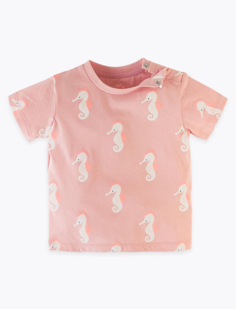 Bebek Pembe Saf Pamuklu Kısa Kollu T-Shirt
