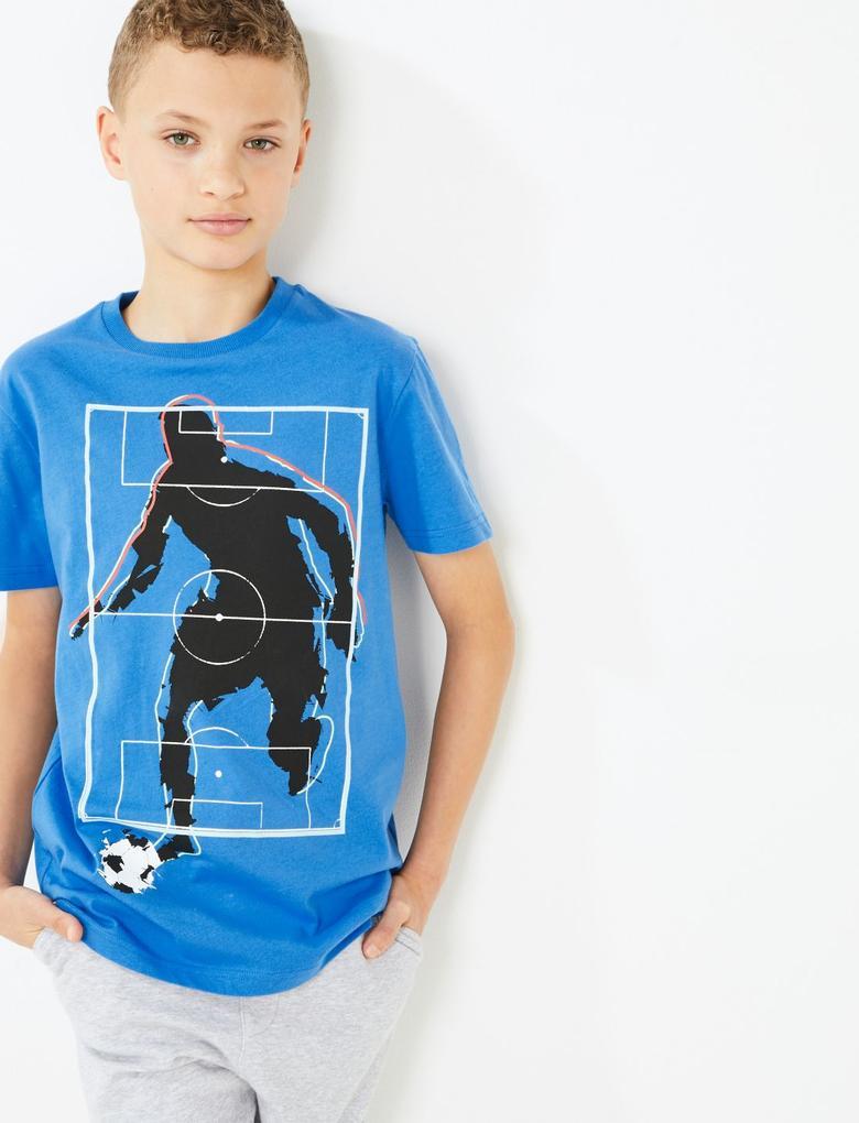 Erkek Çocuk Mavi Saf Pamuklu Desenli T-Shirt