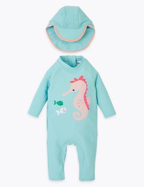Bebek Yeşil 3D Deniz Atı Desenli Mayo ve Şapka Takımı