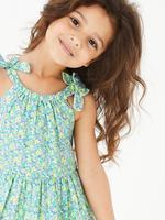 Kız Çocuk Yeşil Çiçek Desenli Fırfırlı Elbise