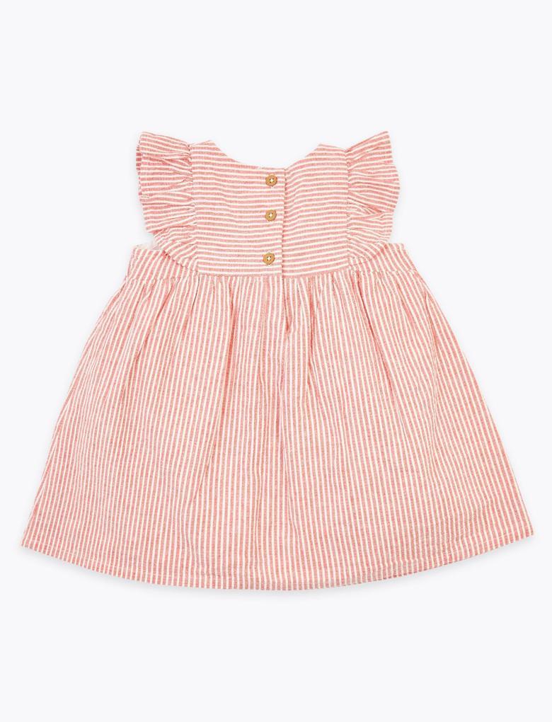 Bebek Pembe Saf Pamuklu Çizgili Elbise