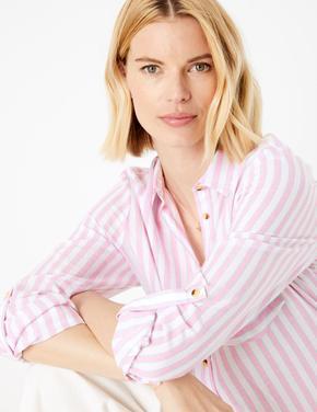 Kadın Mor Saf Pamuklu Çizgili Gömlek