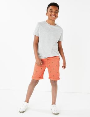 Erkek Çocuk Turuncu Pamuklu Chino Şort