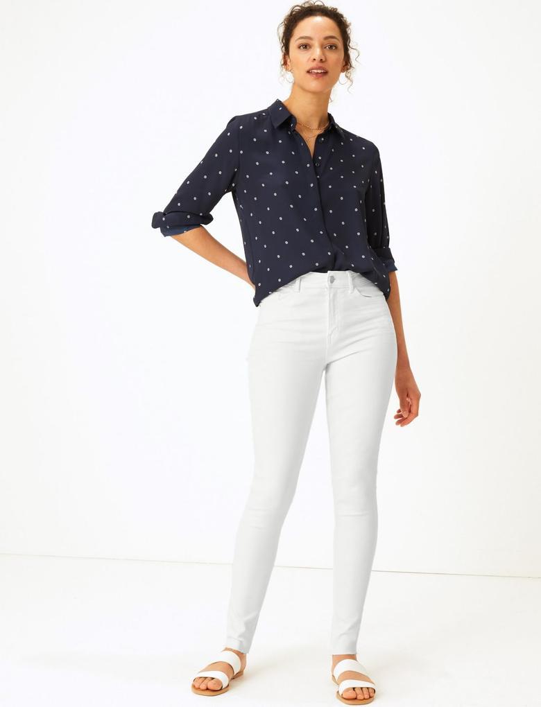 Kadın Beyaz Skinny Leg Jean Pantolon