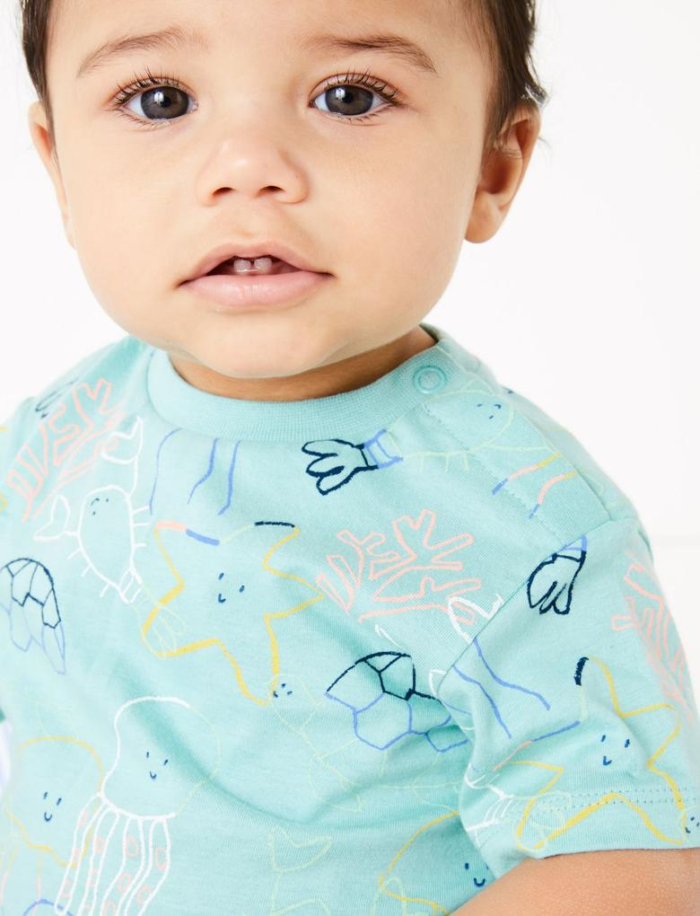 Bebek Mavi Saf Pamuklu Kısa Kollu T-Shirt