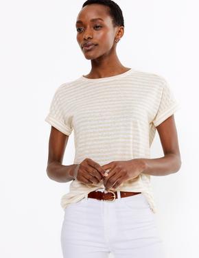 Kadın Renksiz Çizgili Keten T-Shirt
