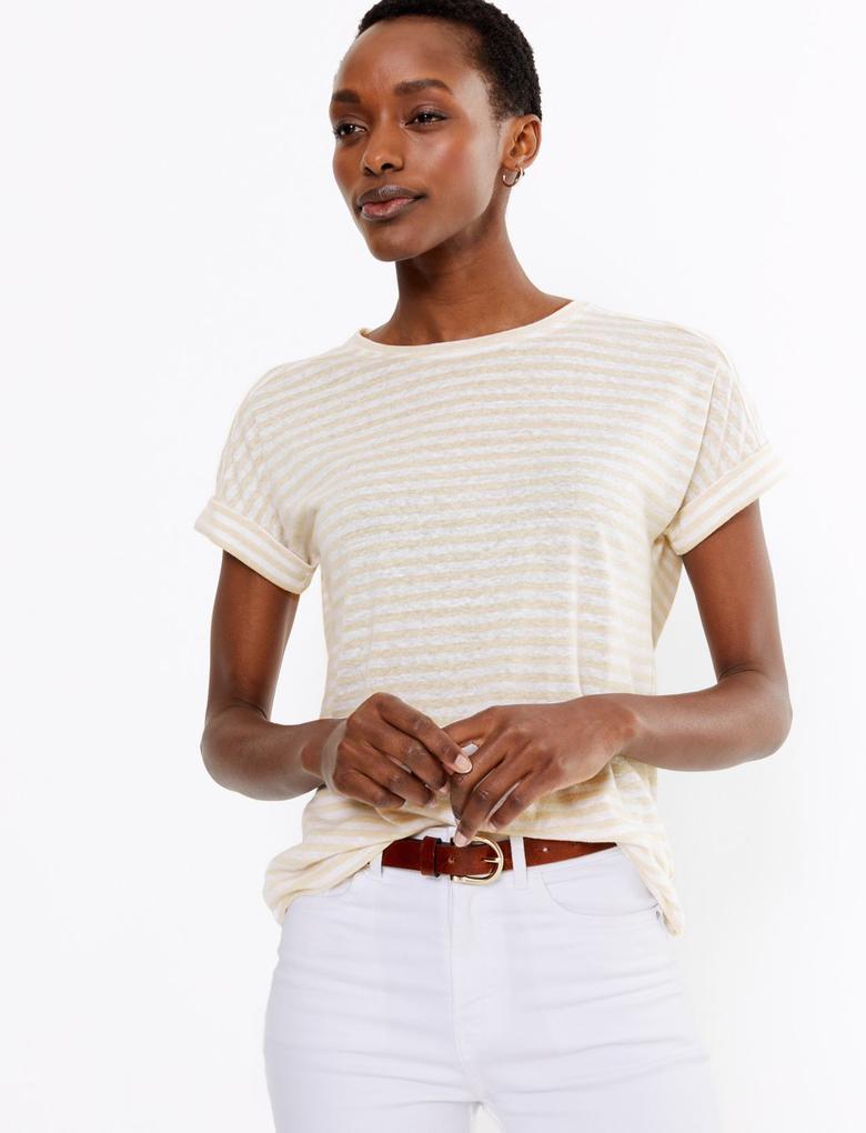 Kadın Renksiz Keten Karışımlı Çizgili T-shirt