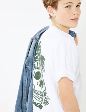 Erkek Çocuk Yeşil Saf Pamuklu İşlemeli T-Shirt
