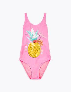 Kız Çocuk Pembe Ananas Desenli Mayo