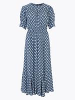 Kadın Mavi Desenli Beli Lastikli Midi Elbise