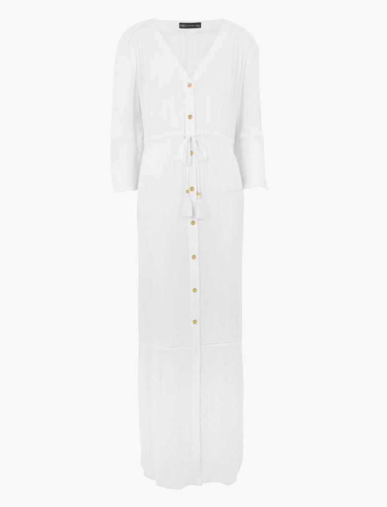 Kadın Beyaz Düğmeli Maxi Plaj Elbisesi