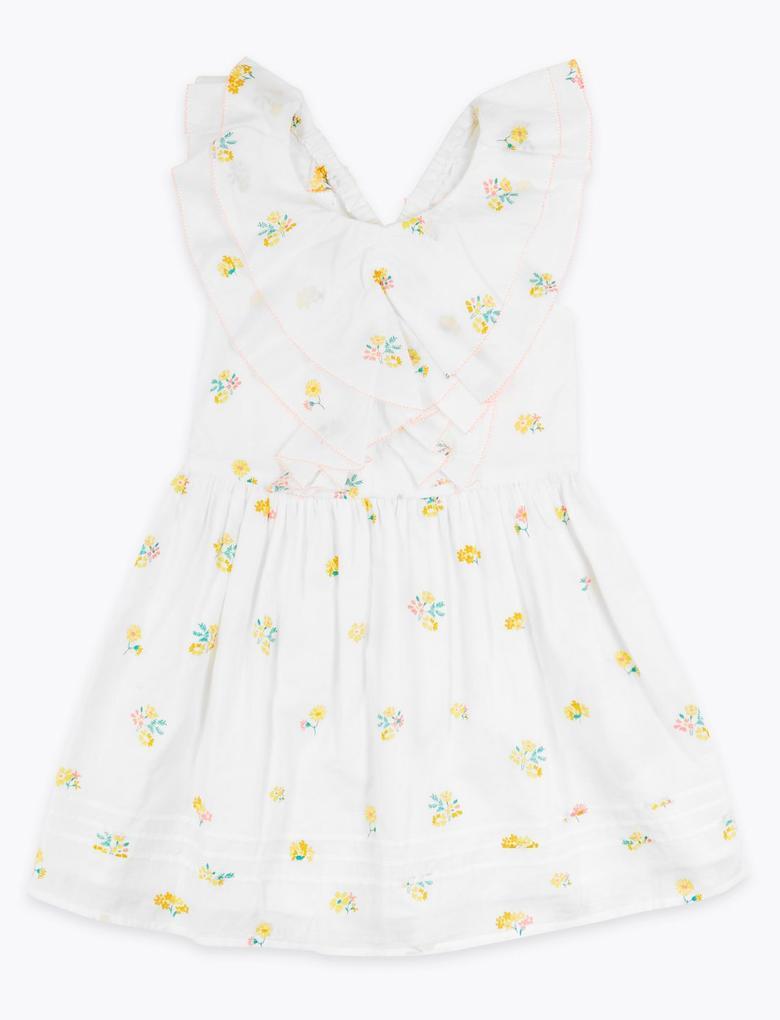 Kız Çocuk Beyaz Çiçek Desenli Fırfırlı Elbise