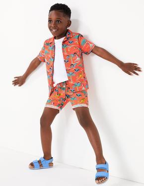 Erkek Çocuk Lacivert Saf Pamuklu Dinozor Desenli Şort