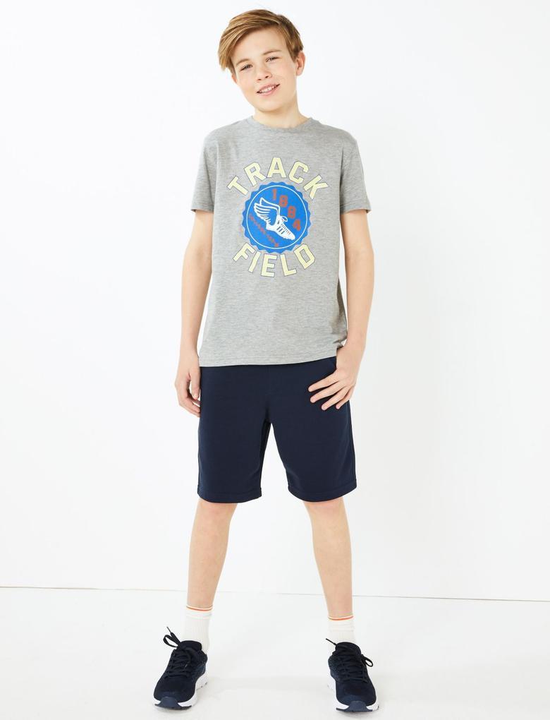 Erkek Çocuk Gri Sloganlı Kısa Kollu T-Shirt
