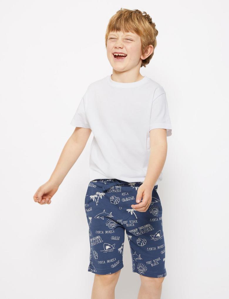 Erkek Çocuk Mavi Desenli Pamuklu Şort