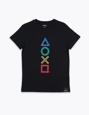 Erkek Çocuk Siyah Saf Pamuklu Desenli T-Shirt