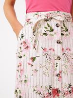 Kadın Pembe Çiçek Desenli Keten Etek