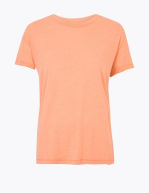 Kadın Turuncu Yuvarlak Yaka Relaxed Fit T-Shirt