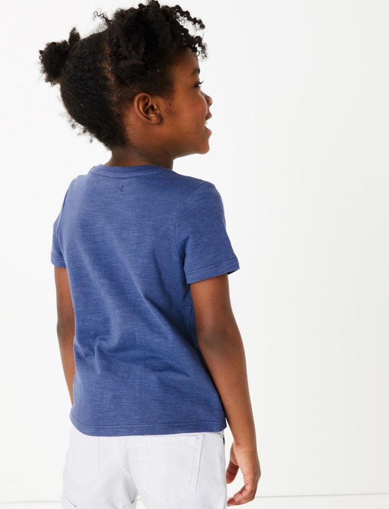 Kız Çocuk Mavi Pullu İşlemeli Kısa Kollu T-Shirt