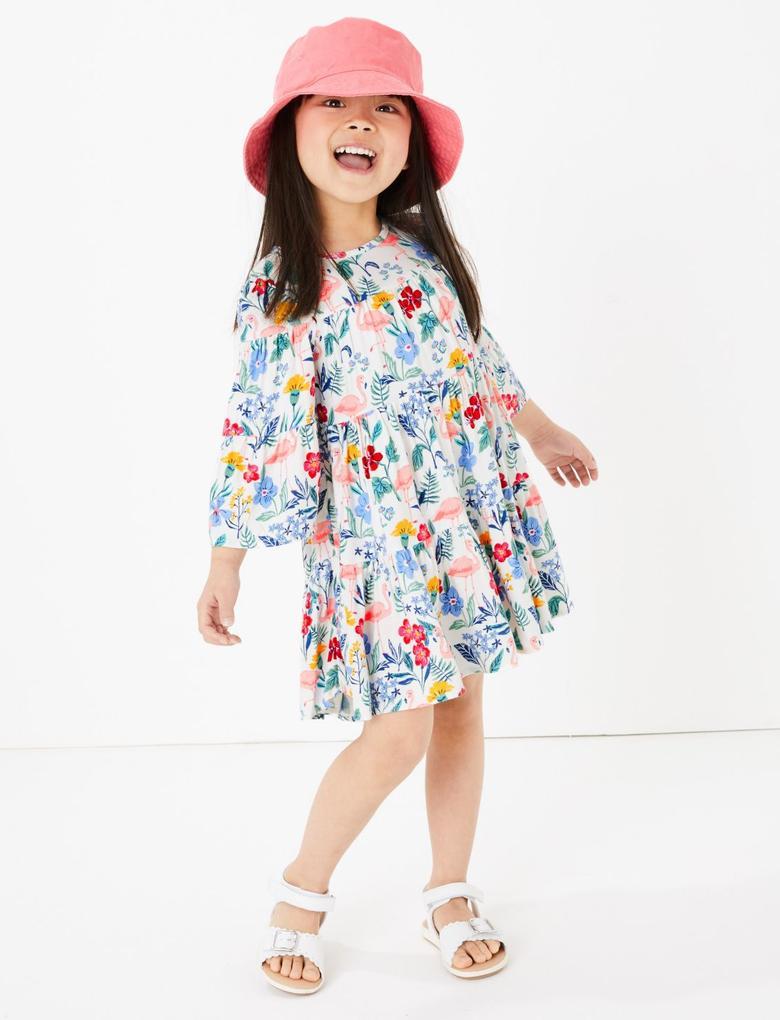 Kız Çocuk Beyaz Flamingo Desenli Elbise