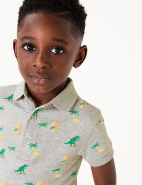 Erkek Çocuk Gri Dinozor Desenli Polo Yaka T-Shirt