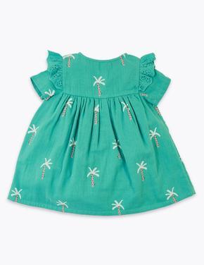 Bebek Yeşil Palmiye Ağacı Desenli Elbise