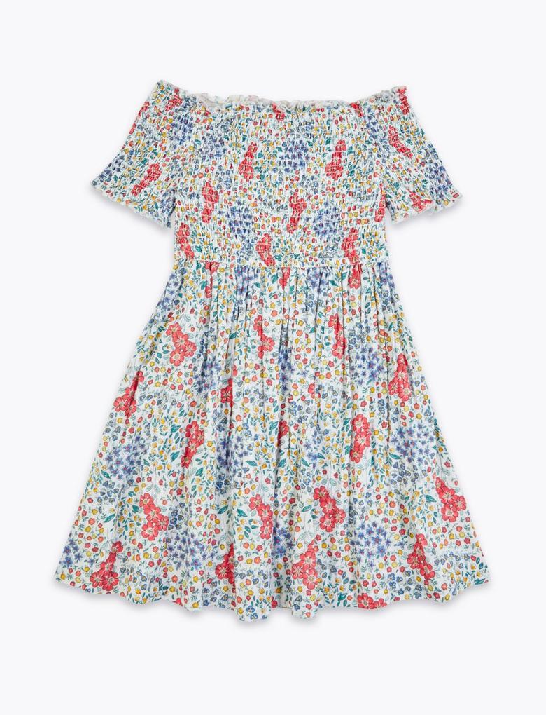 Kız Çocuk Beyaz Desenli Omzu Açık Elbise