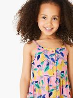Kız Çocuk Pembe Limon Desenli Elbise