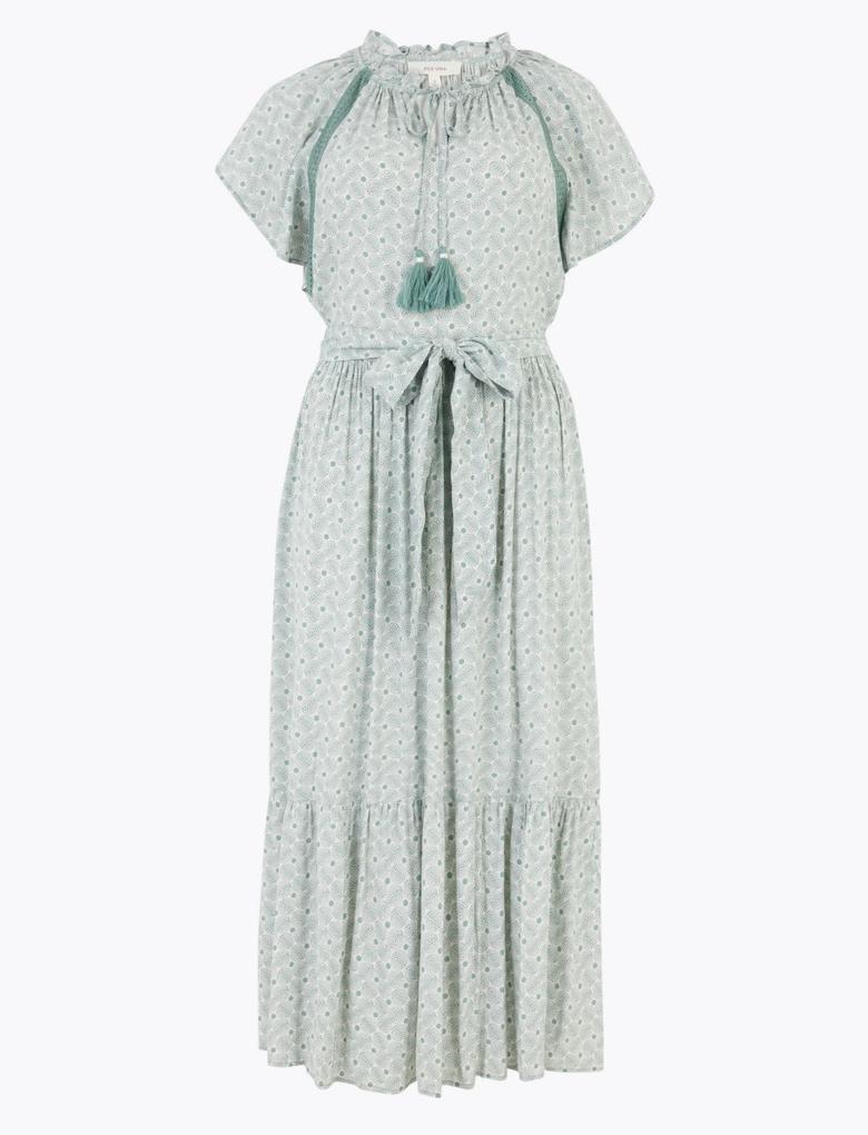 Yeşil Kolları Fırfırlı Midi Elbise