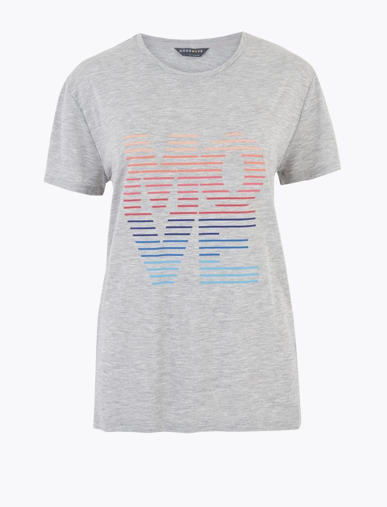 Kadın Gri Yuvarlak Yaka Relaxed Fit T-Shirt