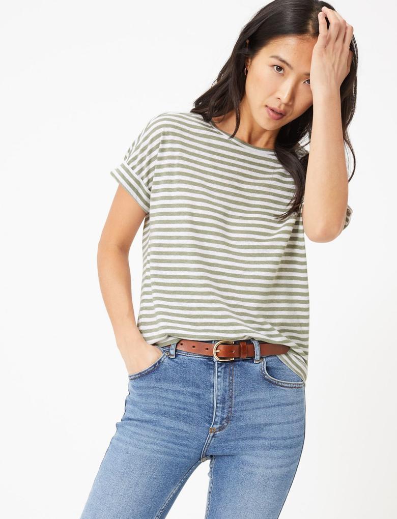 Kadın Yeşil Çizgili Keten T-Shirt
