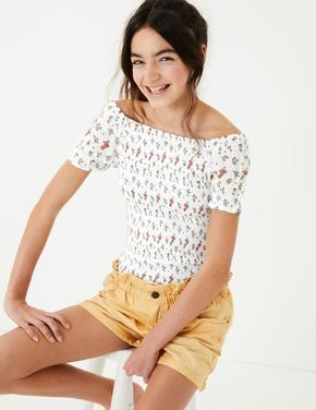 Kız Çocuk Beyaz Çiçek Desenli Bluz