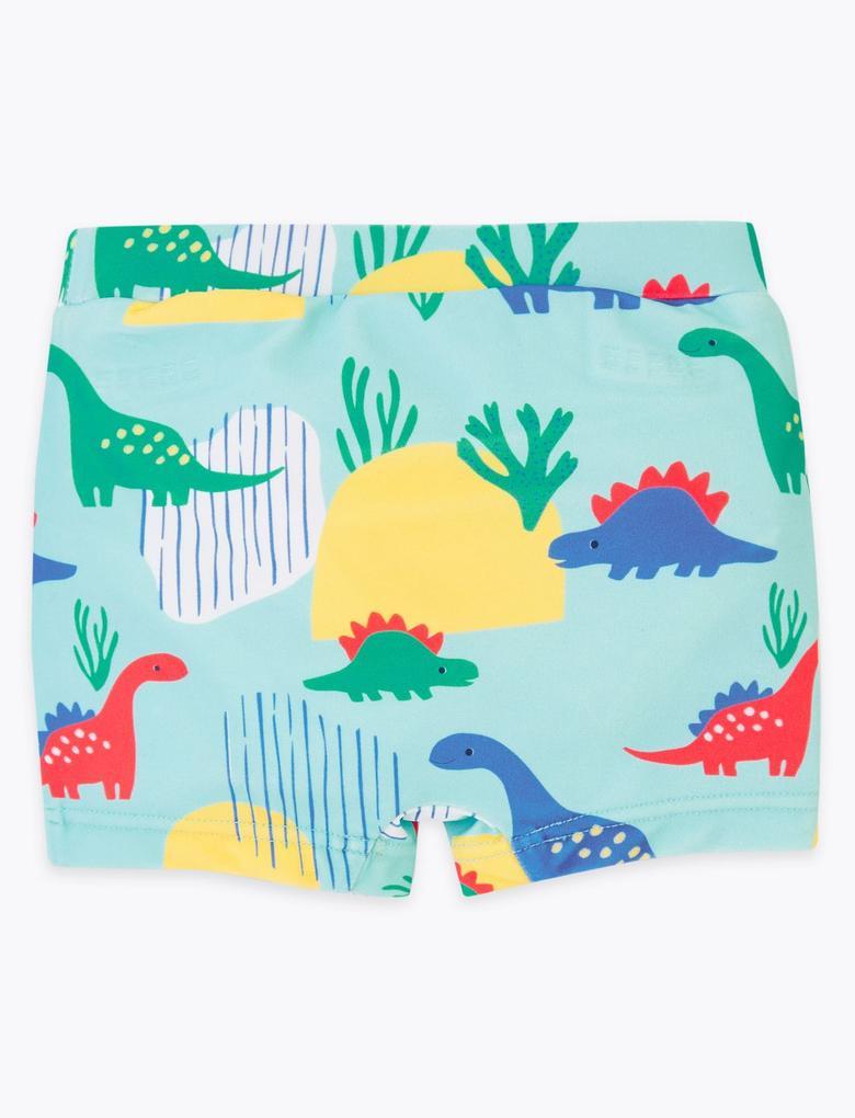 Bebek Yeşil Dinozor Desenli Mayo