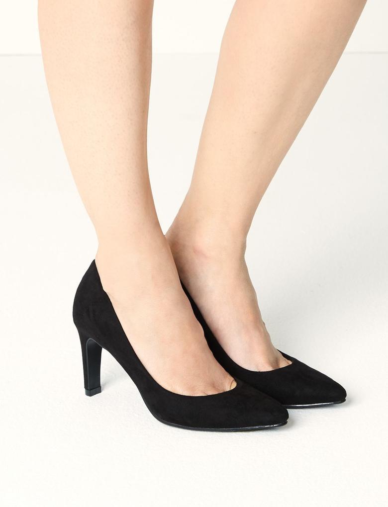 Siyah İnce Topuklu Ayakkabı (Insolia® Teknolojisi ile)