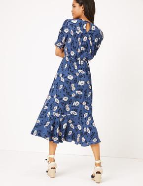 Kadın Mavi Çiçek Desenli Beli Lastikli Elbise