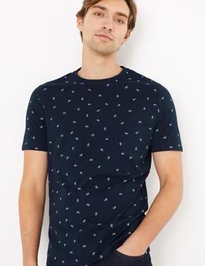 Lacivert Bisiklet Desenli Kısa Kollu T-Shirt