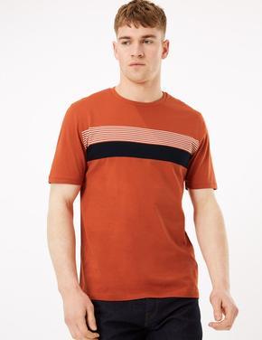 Turuncu Saf Pamuklu Çizgili T-Shirt
