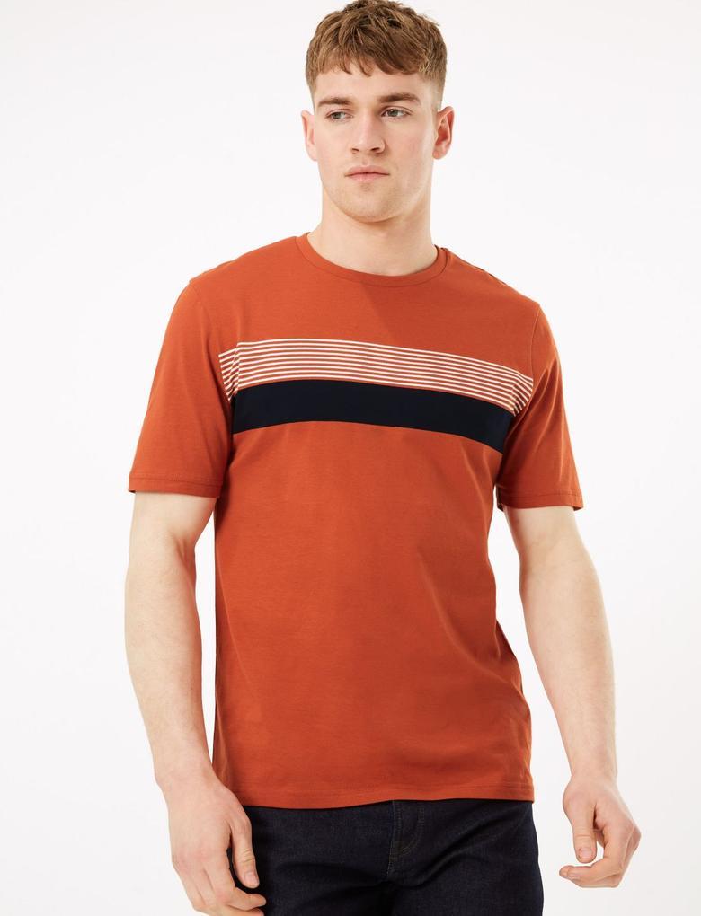 Erkek Turuncu Saf Pamuklu Çizgili T-Shirt