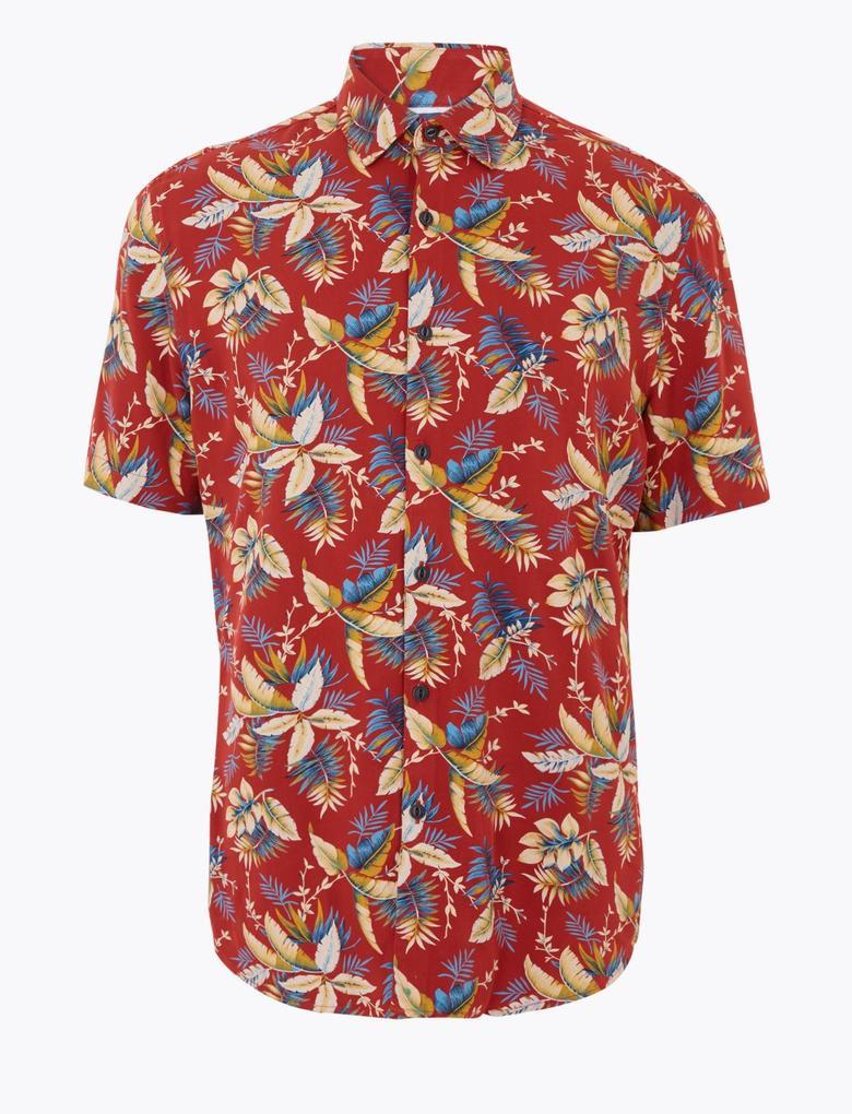 Erkek Kırmızı Desenli Kısa Kollu Gömlek