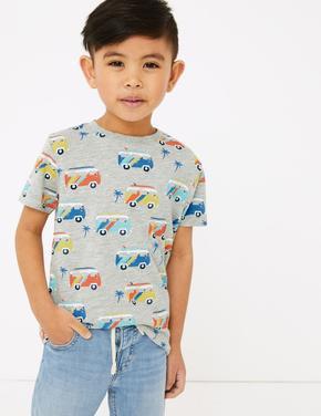 Erkek Çocuk Gri Desenli Kısa Kollu T-Shirt