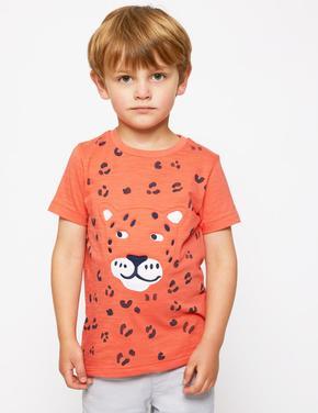 Erkek Çocuk Multi Renk Saf Pamuklu Leopar Desenli T-Shirt